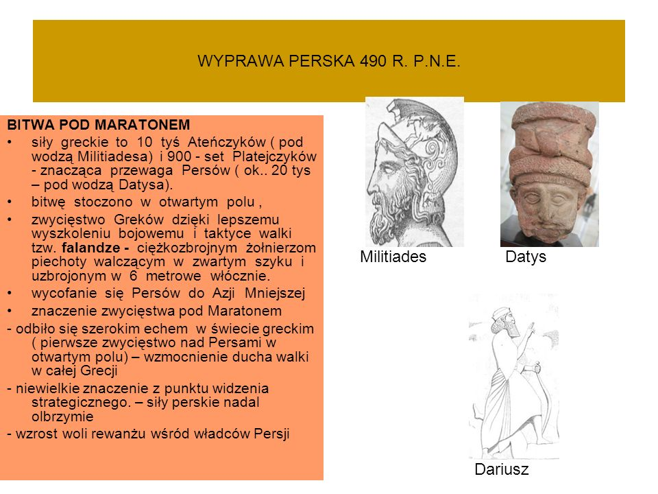 WYPRAWA PERSKA 490 R. P.N.E. Militiades Datys Dariusz