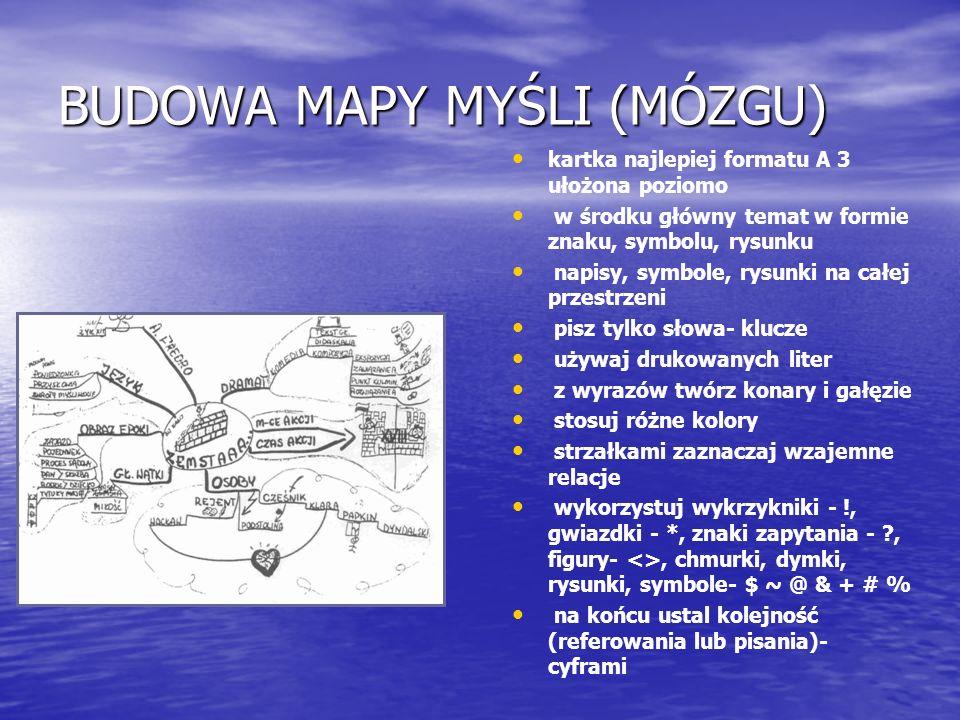 BUDOWA MAPY MYŚLI (MÓZGU)