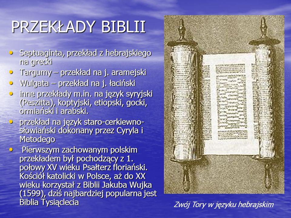 PRZEKŁADY BIBLII Septuaginta, przekład z hebrajskiego na grecki