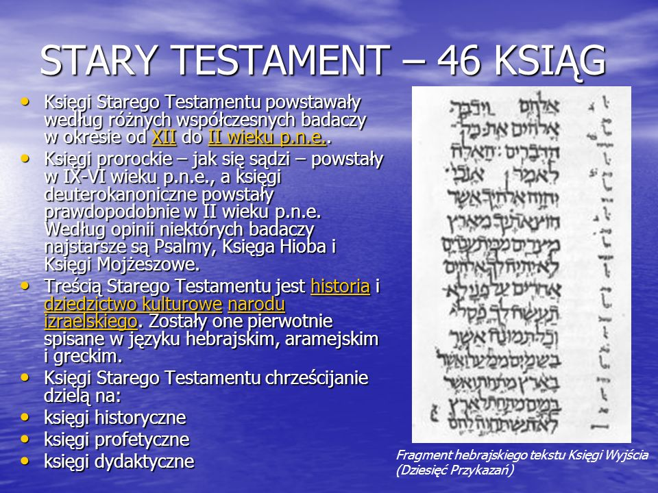 STARY TESTAMENT – 46 KSIĄG