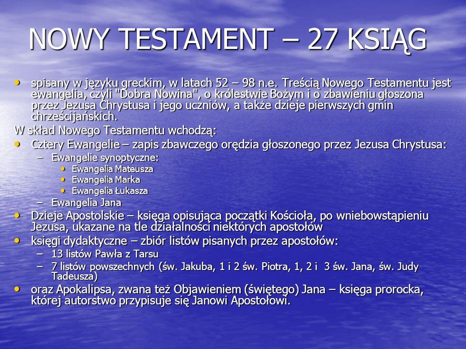 NOWY TESTAMENT – 27 KSIĄG
