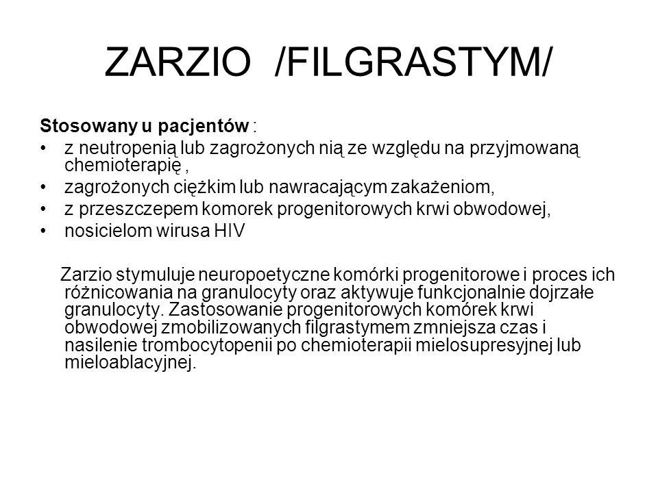 ZARZIO /FILGRASTYM/ Stosowany u pacjentów :