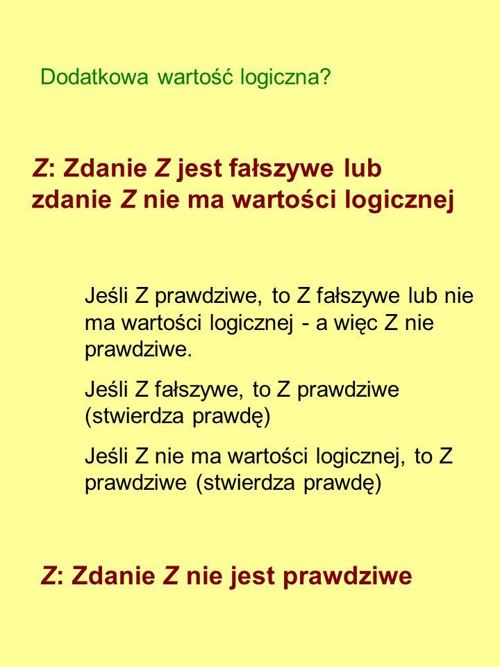 Z: Zdanie Z jest fałszywe lub zdanie Z nie ma wartości logicznej