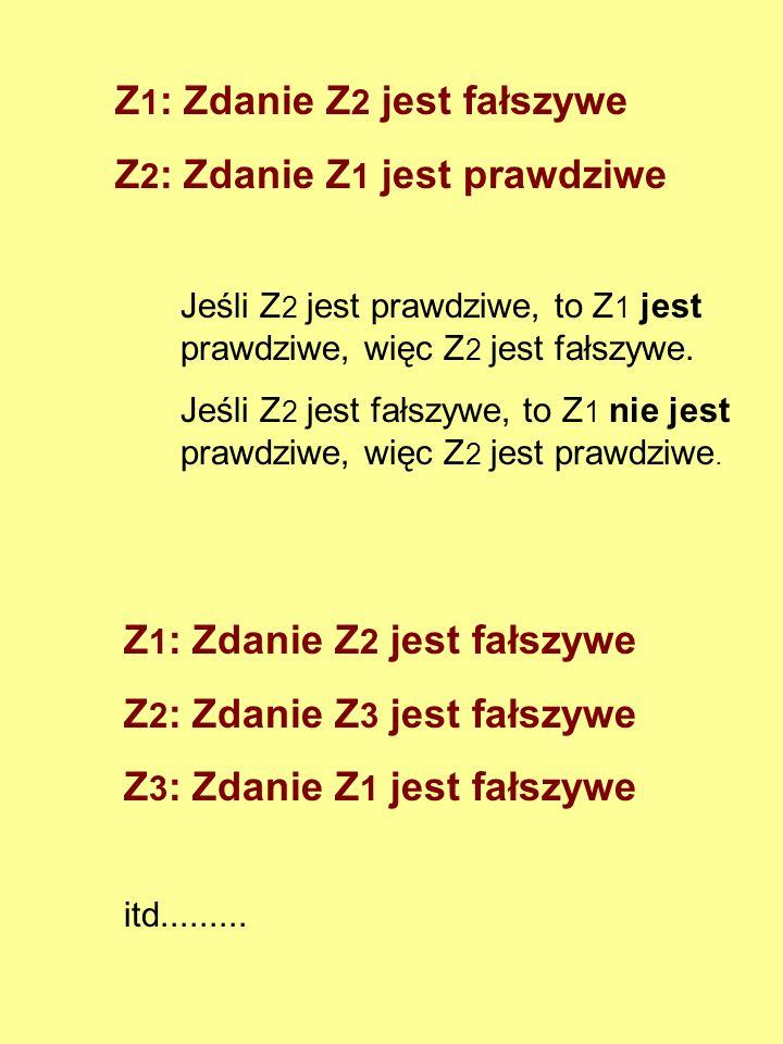 Z1: Zdanie Z2 jest fałszywe Z2: Zdanie Z1 jest prawdziwe