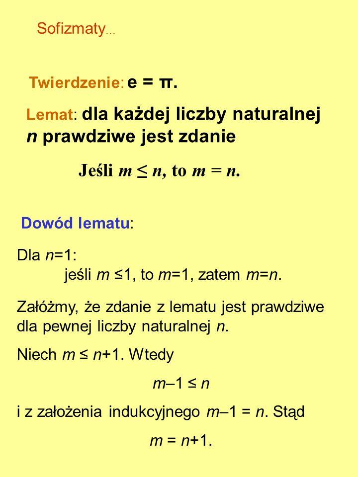 Jeśli m ≤ n, to m = n. Sofizmaty... Twierdzenie: e = π.
