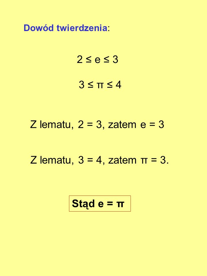 2 ≤ e ≤ 3 3 ≤ π ≤ 4 Z lematu, 2 = 3, zatem e = 3