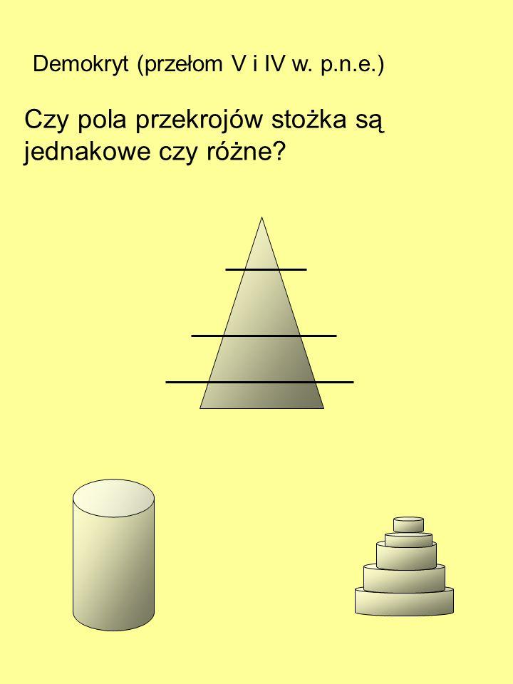 Czy pola przekrojów stożka są jednakowe czy różne
