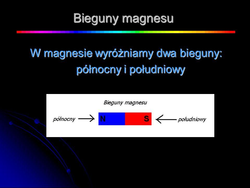 W magnesie wyróżniamy dwa bieguny: północny i południowy