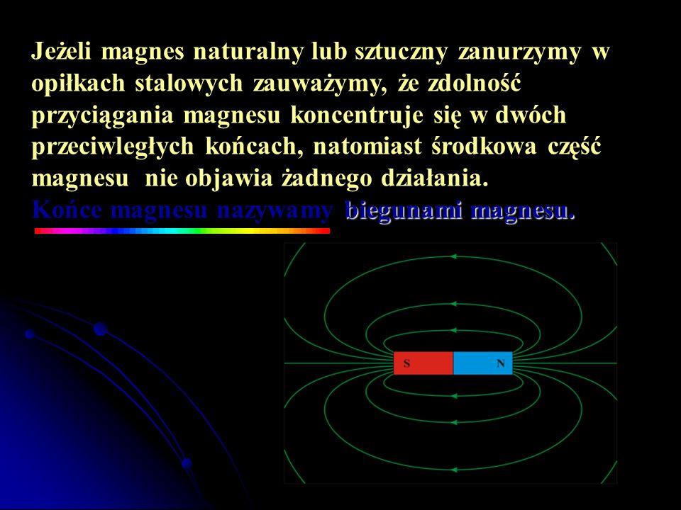 Jeżeli magnes naturalny lub sztuczny zanurzymy w opiłkach stalowych zauważymy, że zdolność przyciągania magnesu koncentruje się w dwóch przeciwległych końcach, natomiast środkowa część magnesu nie objawia żadnego działania.
