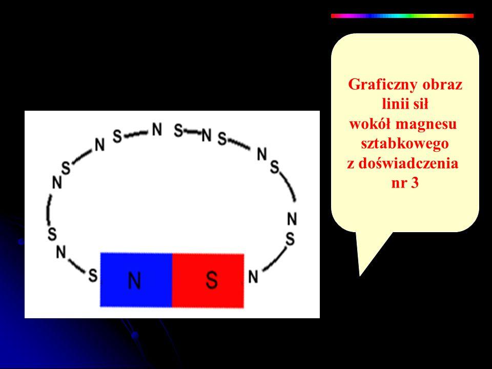 Graficzny obraz linii sił wokół magnesu sztabkowego z doświadczenia nr 3