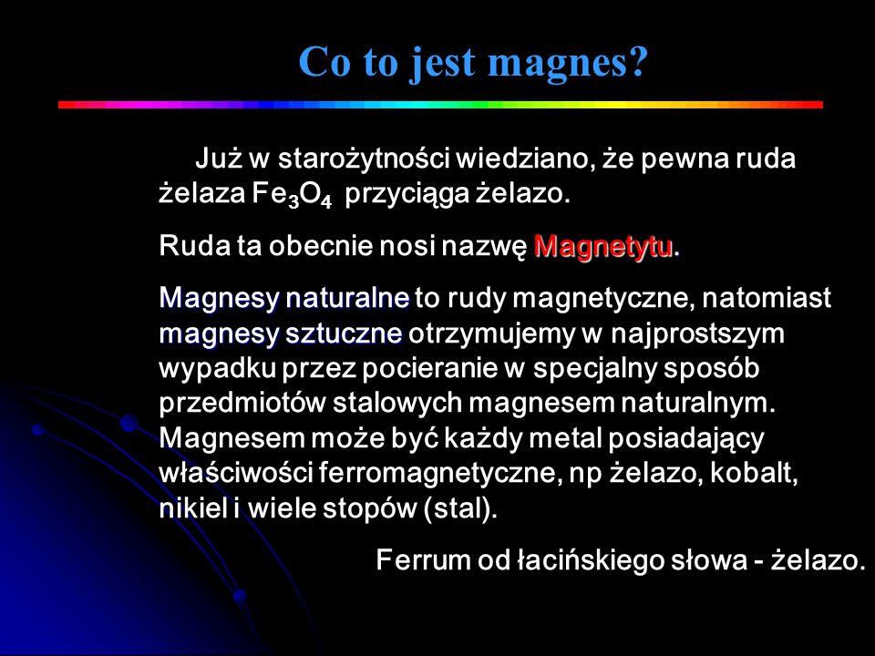 Co to jest magnes Już w starożytności wiedziano, że pewna ruda żelaza Fe3O4 przyciąga żelazo. Ruda ta obecnie nosi nazwę Magnetytu.