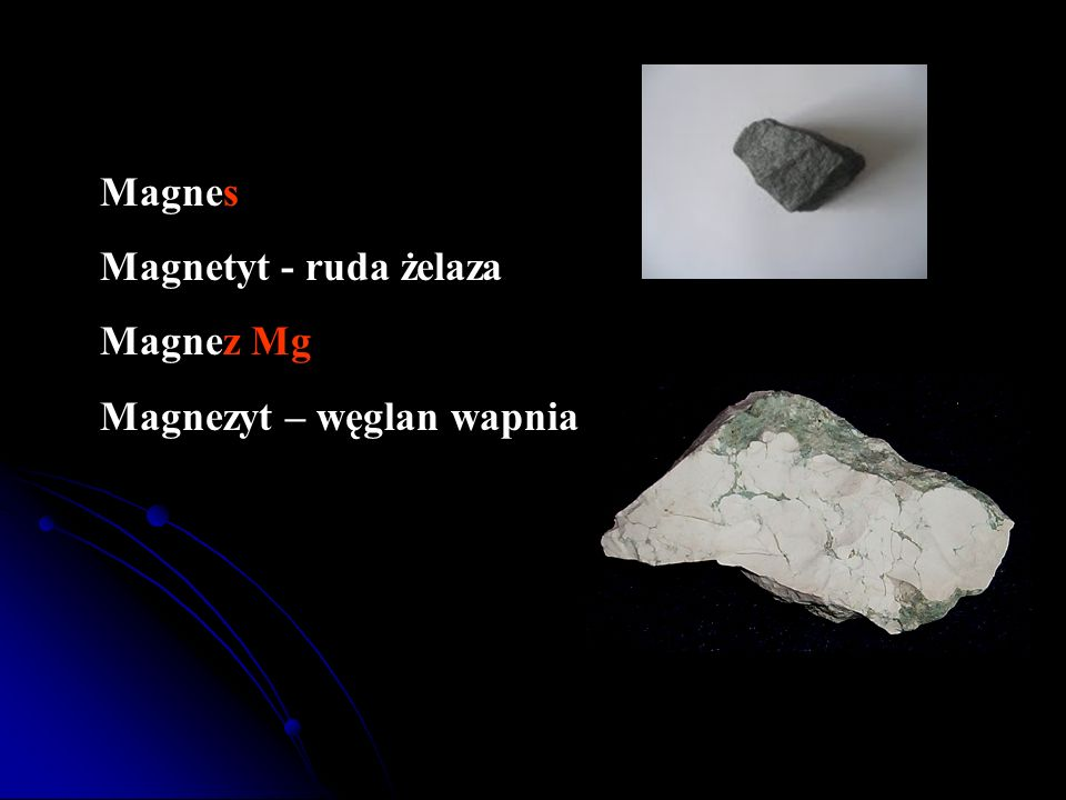 Magnes Magnetyt - ruda żelaza Magnez Mg Magnezyt – węglan wapnia