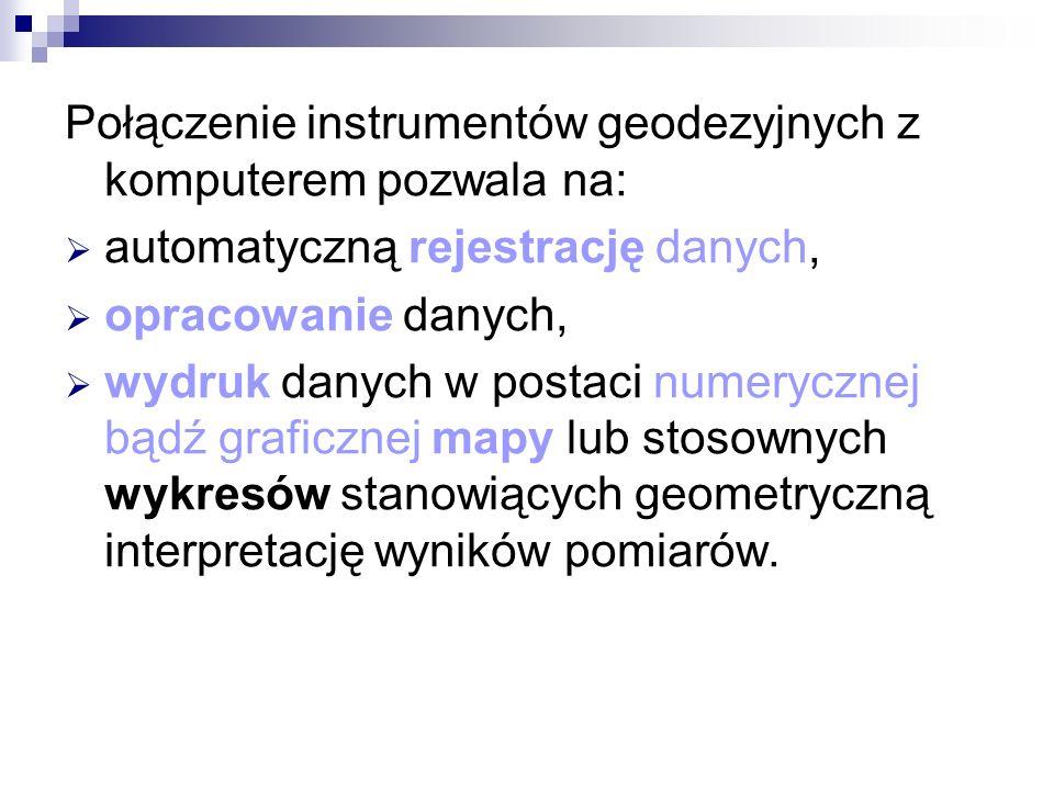 Połączenie instrumentów geodezyjnych z komputerem pozwala na: