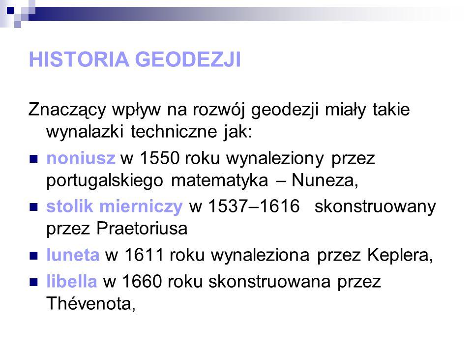 HISTORIA GEODEZJI Znaczący wpływ na rozwój geodezji miały takie wynalazki techniczne jak: