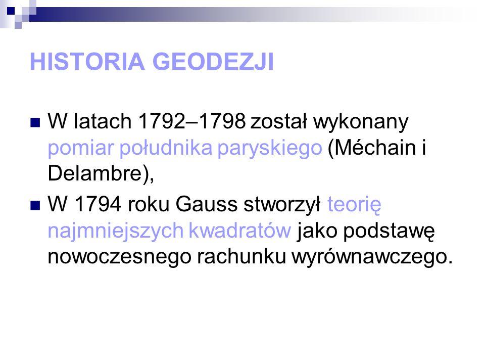 HISTORIA GEODEZJI W latach 1792–1798 został wykonany pomiar południka paryskiego (Méchain i Delambre),
