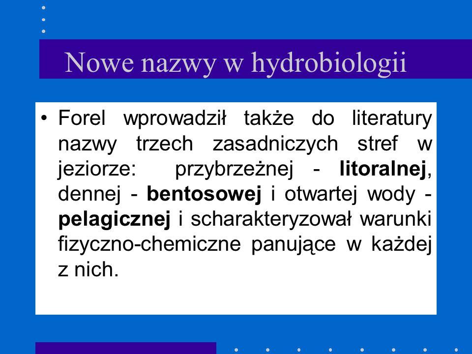 Nowe nazwy w hydrobiologii