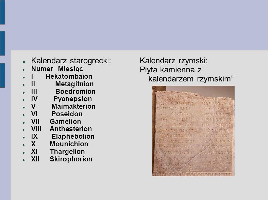 Kalendarz starogrecki: Kalendarz rzymski: