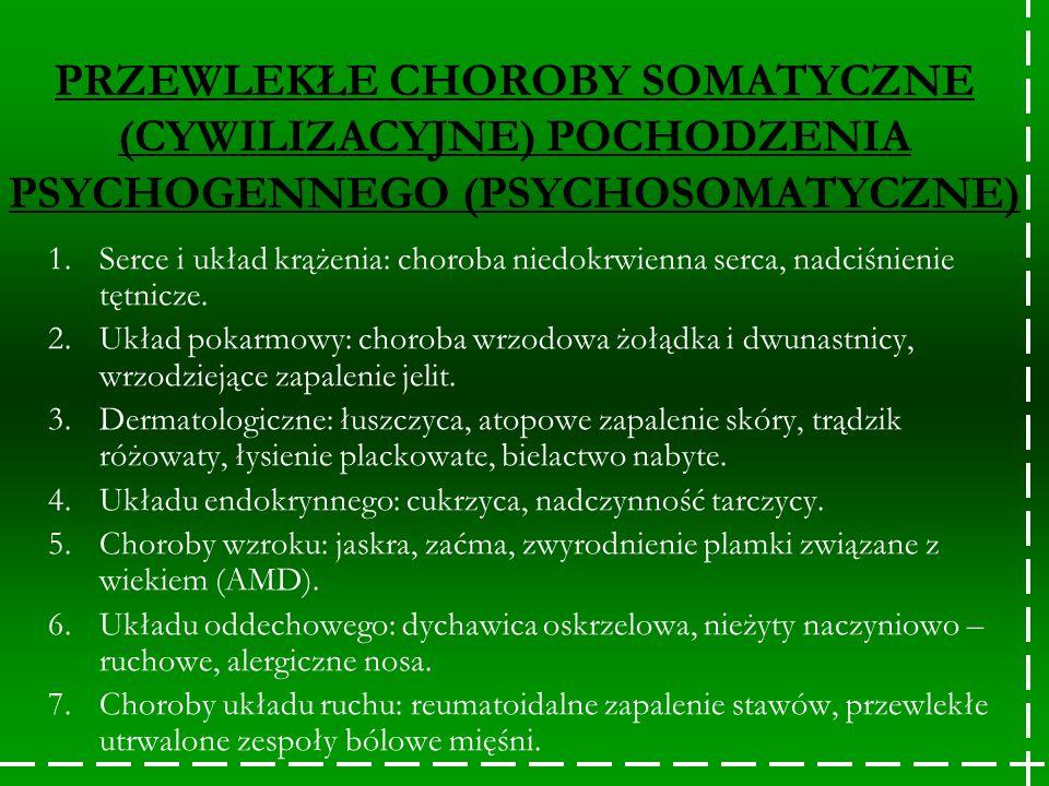 PRZEWLEKŁE CHOROBY SOMATYCZNE (CYWILIZACYJNE) POCHODZENIA PSYCHOGENNEGO (PSYCHOSOMATYCZNE)