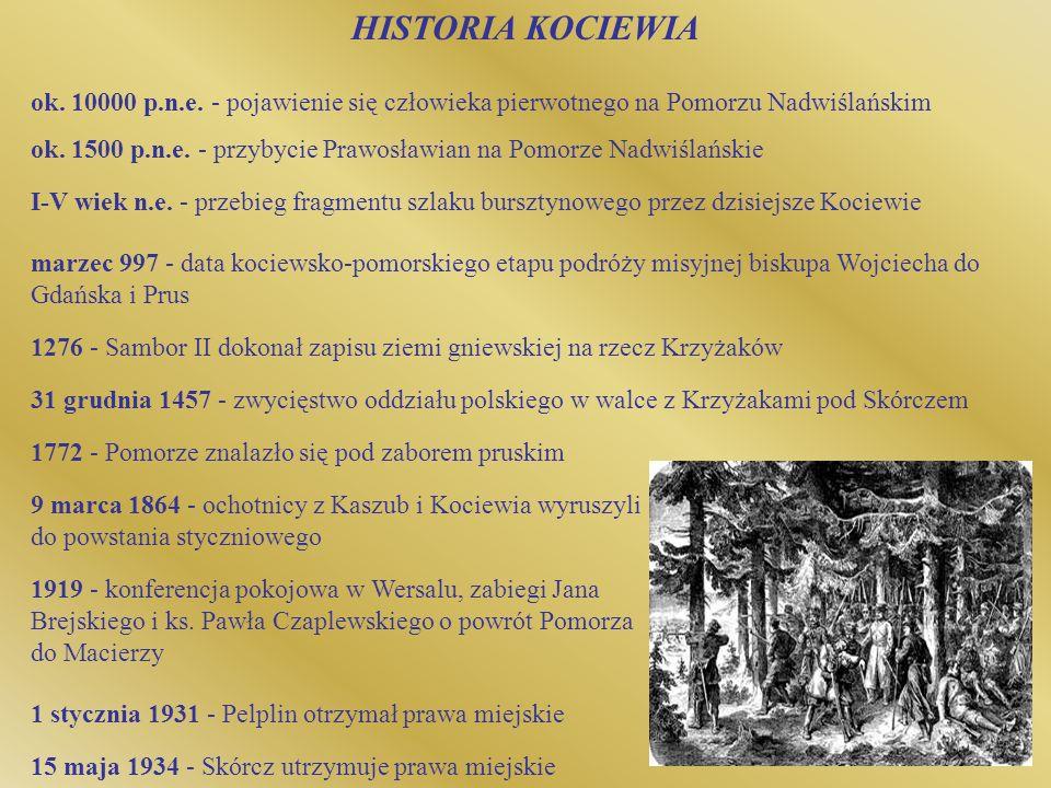 HISTORIA KOCIEWIA ok. 10000 p.n.e. - pojawienie się człowieka pierwotnego na Pomorzu Nadwiślańskim.