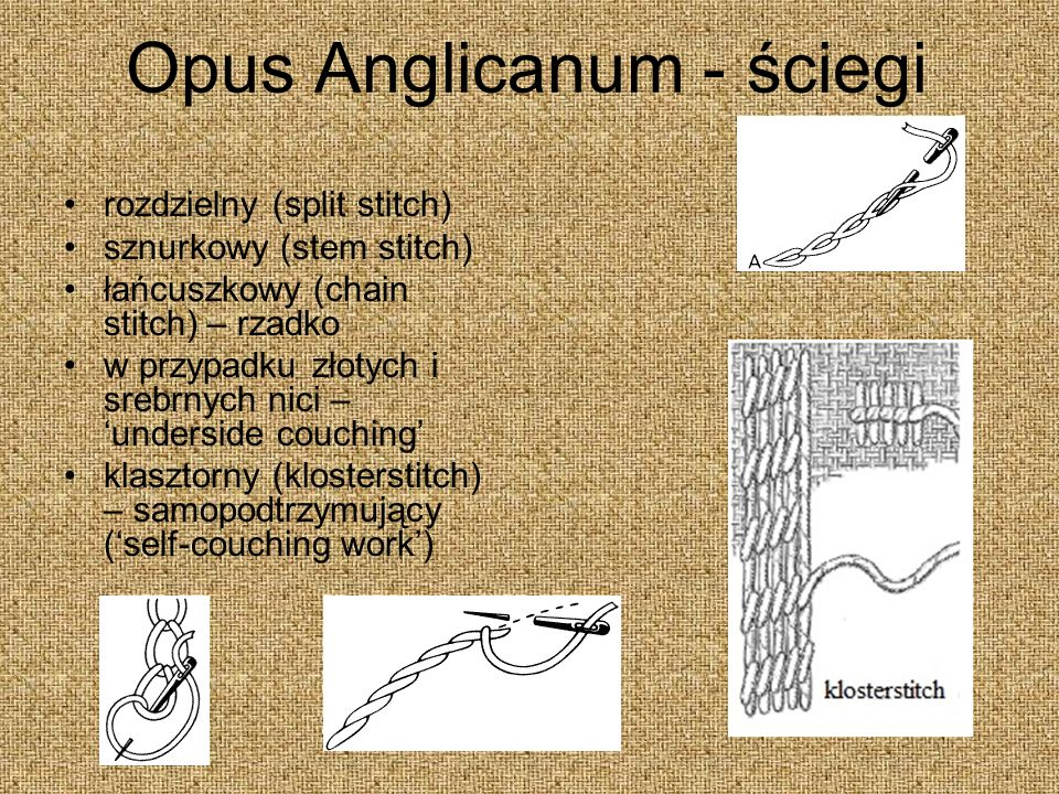Opus Anglicanum - ściegi