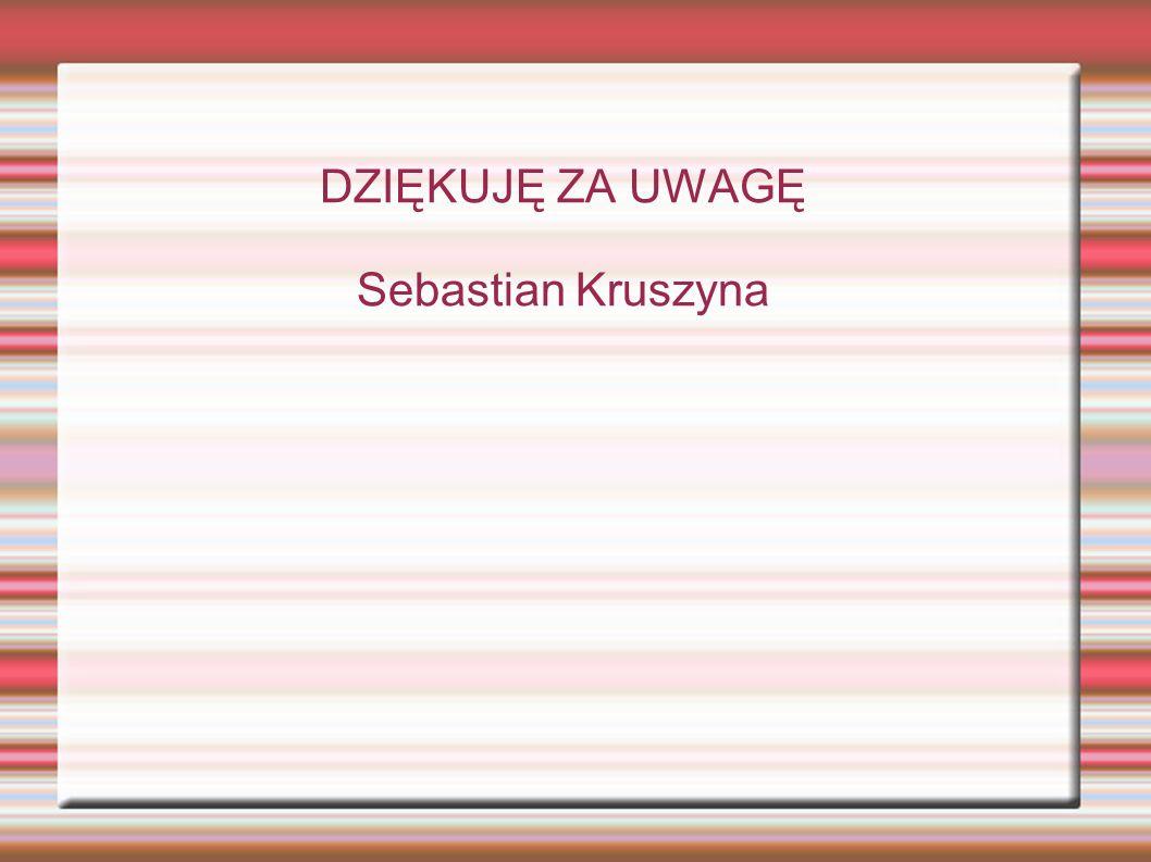 DZIĘKUJĘ ZA UWAGĘ Sebastian Kruszyna