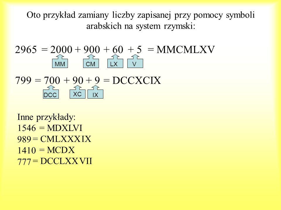 2965 = 2000 + 900 + 60 + 5 = MMCMLXV 799 = 700 + 90 + 9 = DCCXCIX