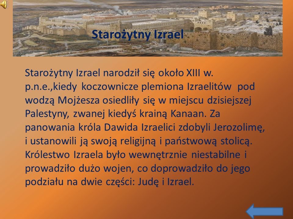 Starożytny Izrael narodził się około XIII w. p. n. e