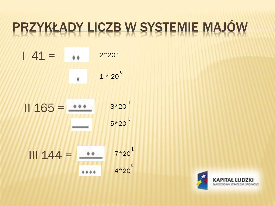 Przykłady liczb w systemie majów