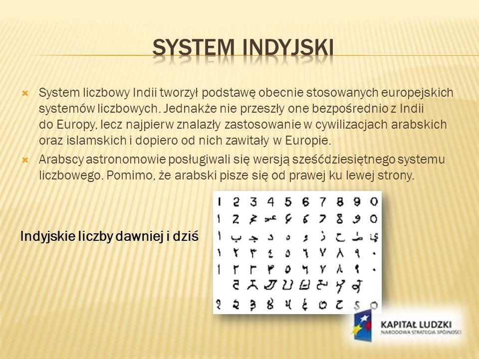 System indyjski Indyjskie liczby dawniej i dziś
