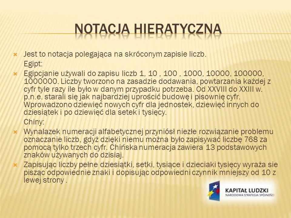 Notacja hieratyczna Jest to notacja polegająca na skróconym zapisie liczb. Egipt: