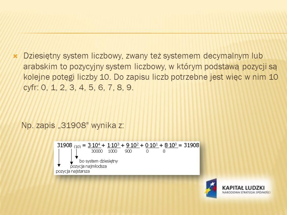 Dziesiętny system liczbowy, zwany też systemem decymalnym lub arabskim to pozycyjny system liczbowy, w którym podstawą pozycji są kolejne potęgi liczby 10. Do zapisu liczb potrzebne jest więc w nim 10 cyfr: 0, 1, 2, 3, 4, 5, 6, 7, 8, 9.