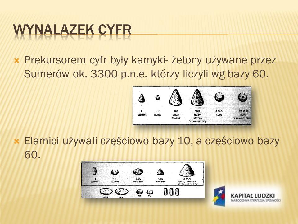 Wynalazek cyfr Prekursorem cyfr były kamyki- żetony używane przez Sumerów ok. 3300 p.n.e. którzy liczyli wg bazy 60.