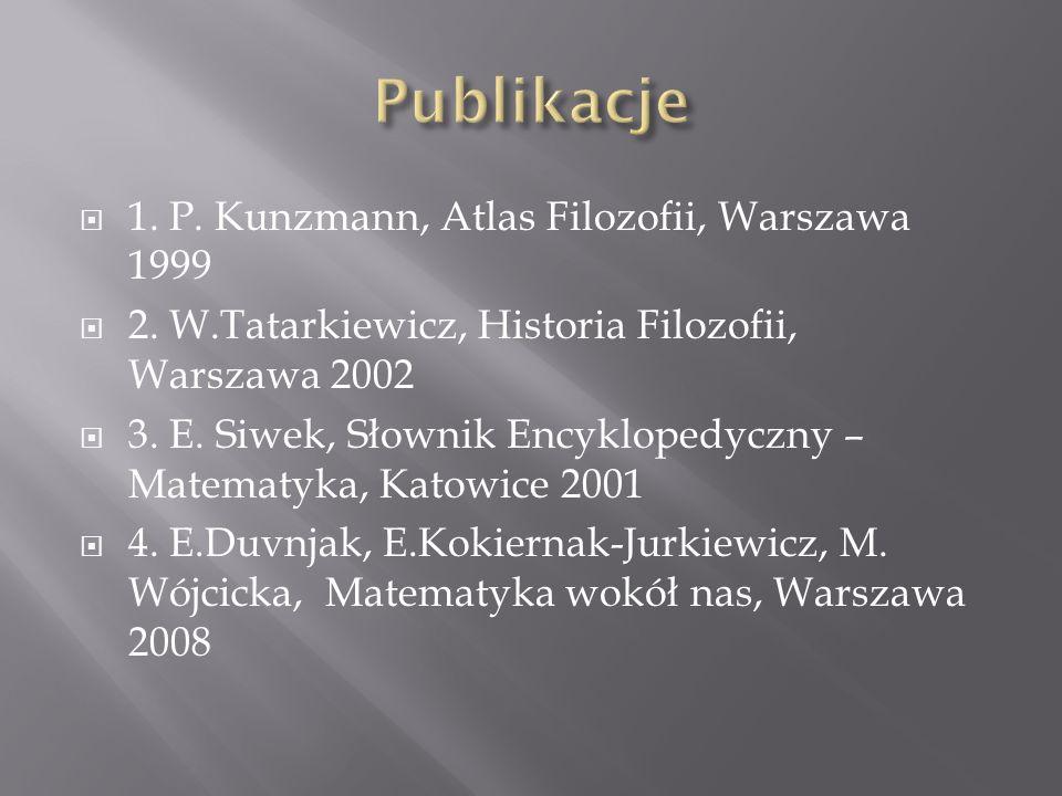 Publikacje 1. P. Kunzmann, Atlas Filozofii, Warszawa 1999