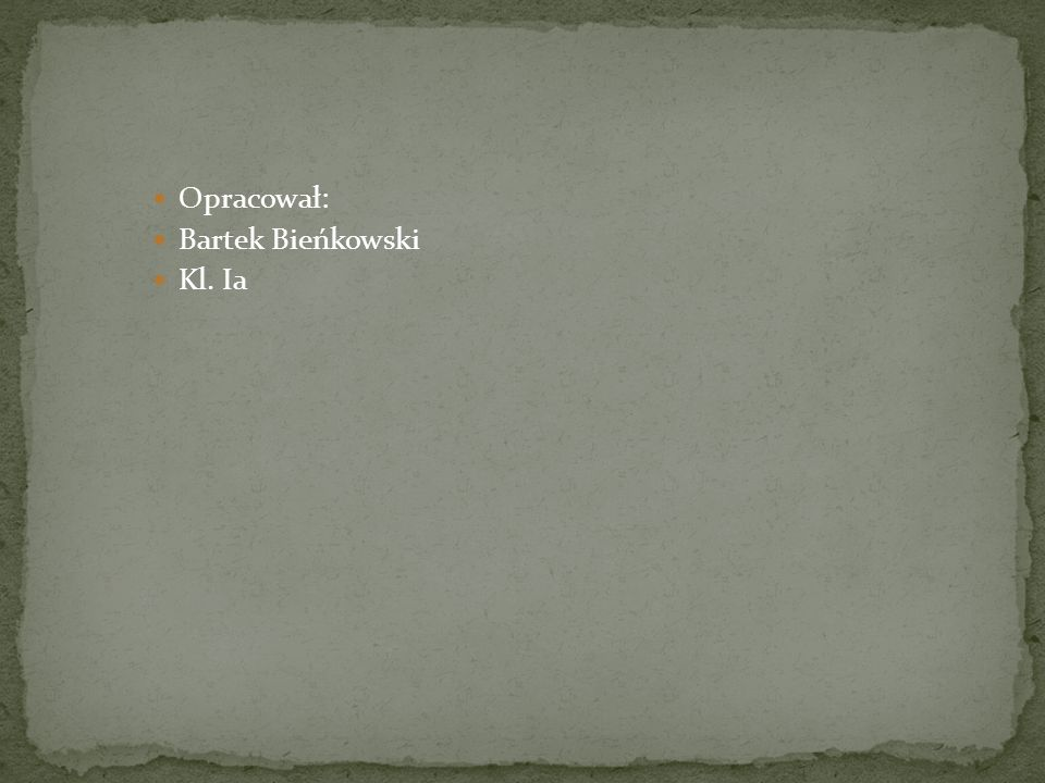 Opracował: Bartek Bieńkowski Kl. Ia