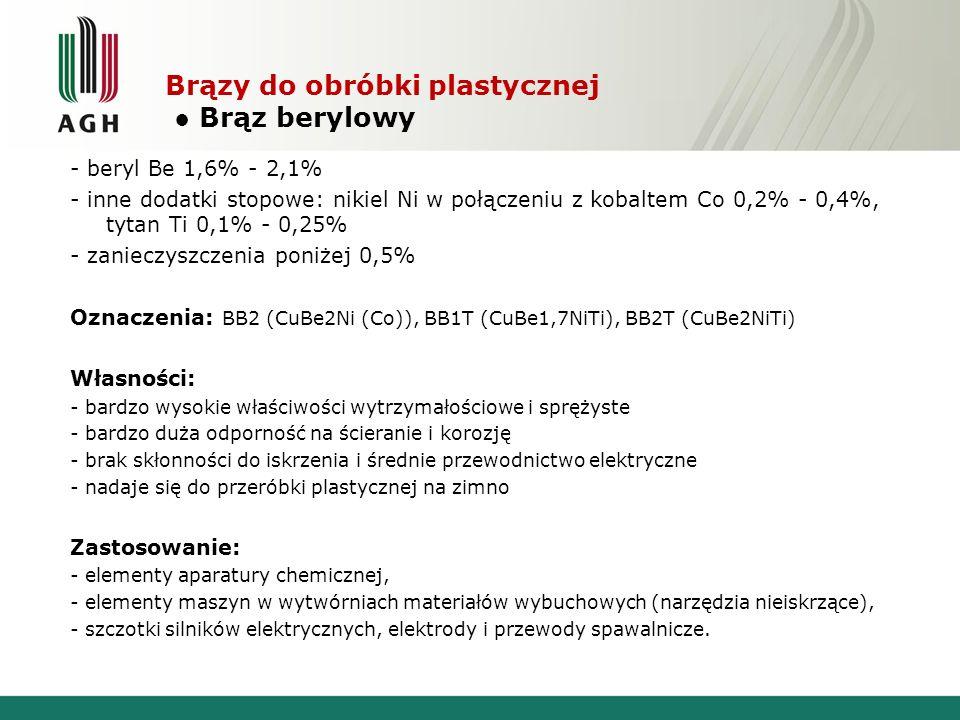 Brązy do obróbki plastycznej ● Brąz berylowy