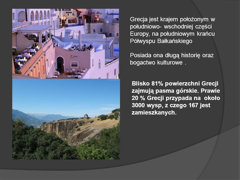 Grecja jest krajem położonym w południowo- wschodniej części Europy, na południowym krańcu Półwyspu Bałkańskiego