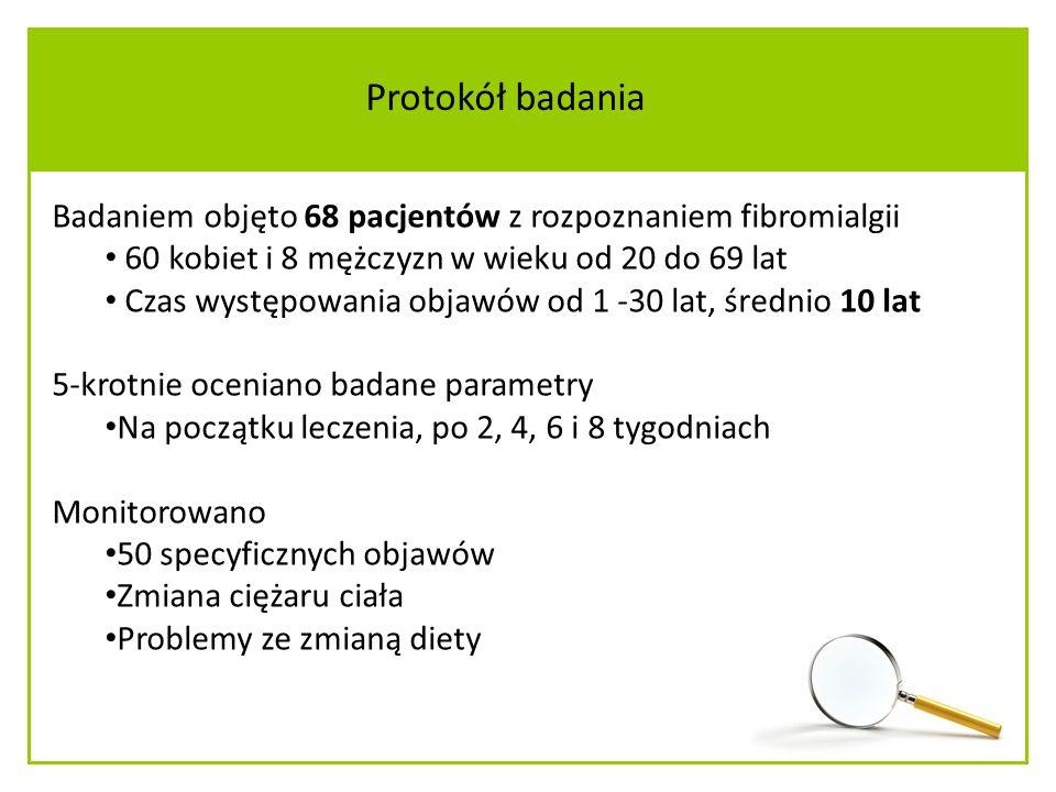 Protokół badania Badaniem objęto 68 pacjentów z rozpoznaniem fibromialgii. 60 kobiet i 8 mężczyzn w wieku od 20 do 69 lat.