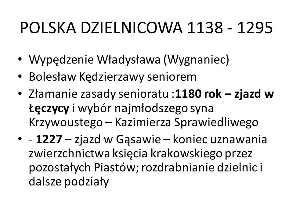 POLSKA DZIELNICOWA 1138 - 1295 Wypędzenie Władysława (Wygnaniec)