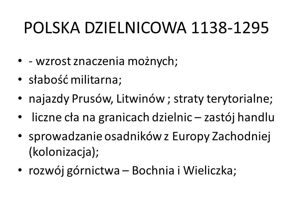 POLSKA DZIELNICOWA 1138-1295 - wzrost znaczenia możnych;