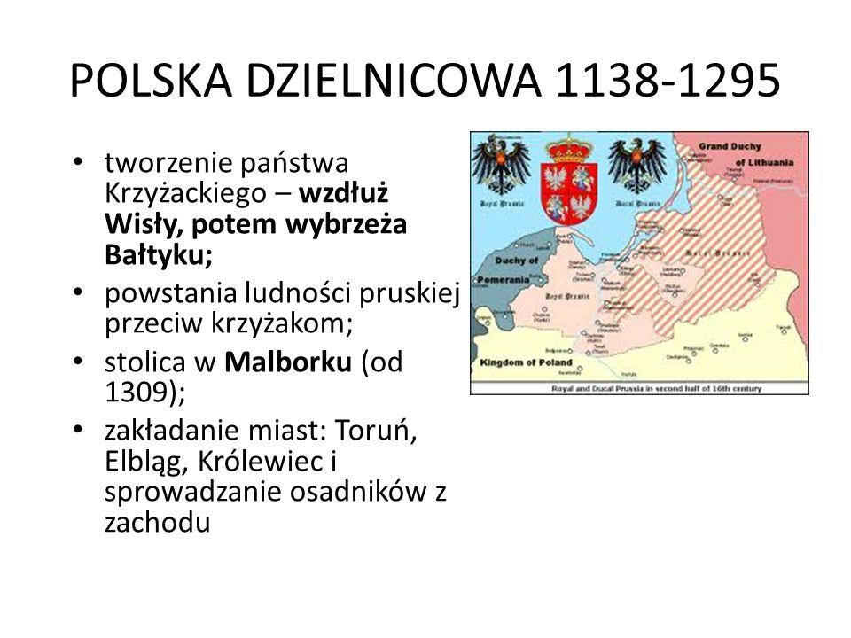 POLSKA DZIELNICOWA 1138-1295 tworzenie państwa Krzyżackiego – wzdłuż Wisły, potem wybrzeża Bałtyku;