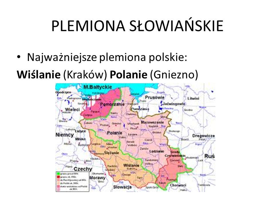 PLEMIONA SŁOWIAŃSKIE Najważniejsze plemiona polskie: