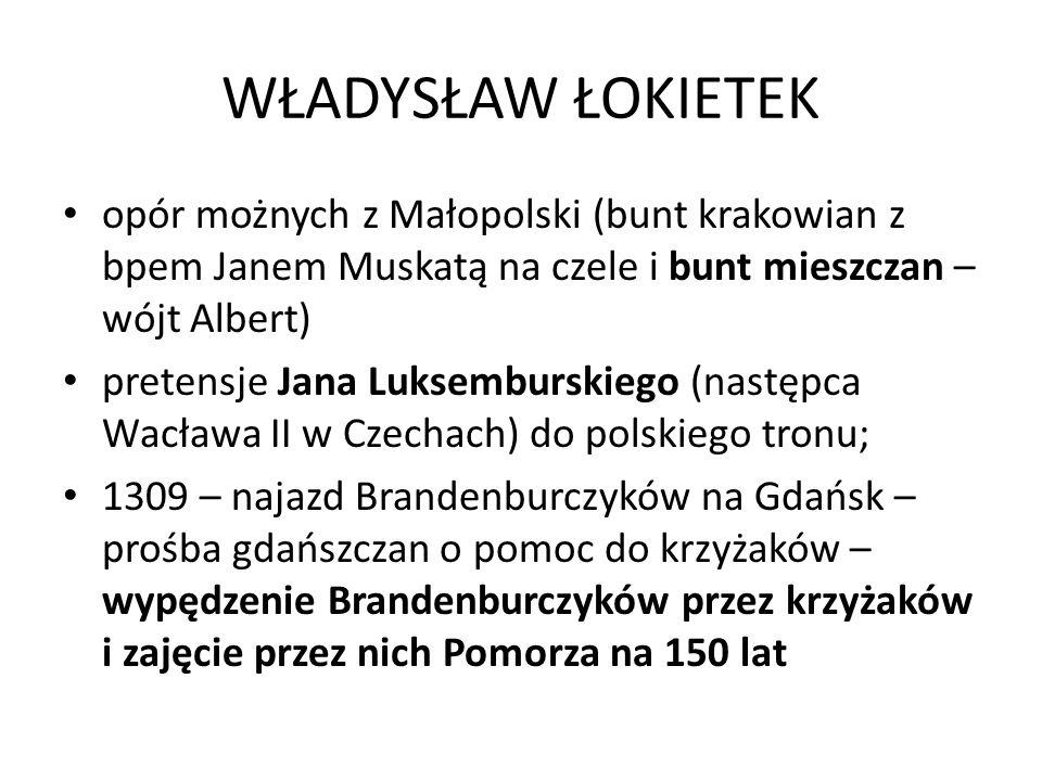 WŁADYSŁAW ŁOKIETEK opór możnych z Małopolski (bunt krakowian z bpem Janem Muskatą na czele i bunt mieszczan – wójt Albert)