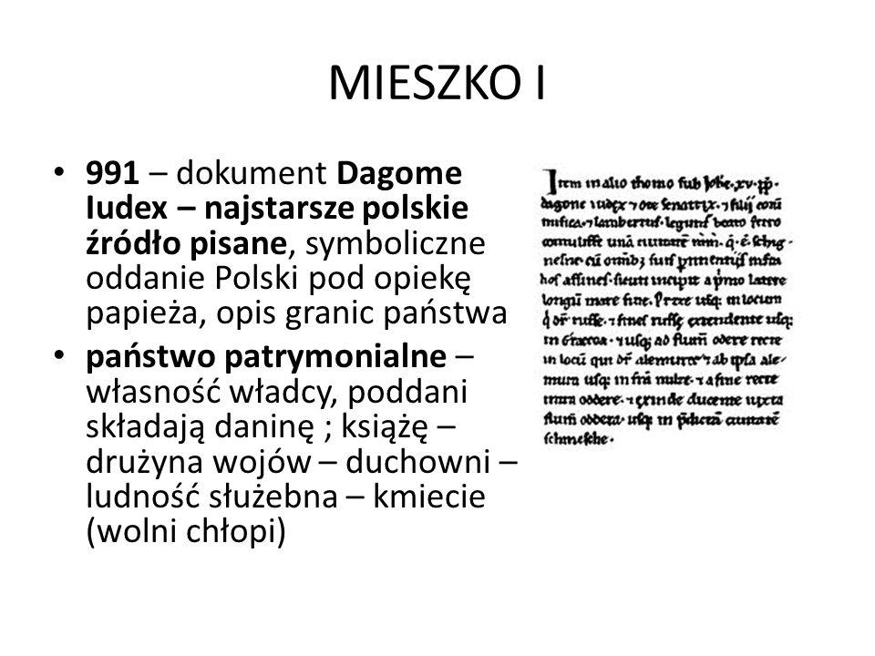 MIESZKO I 991 – dokument Dagome Iudex – najstarsze polskie źródło pisane, symboliczne oddanie Polski pod opiekę papieża, opis granic państwa.