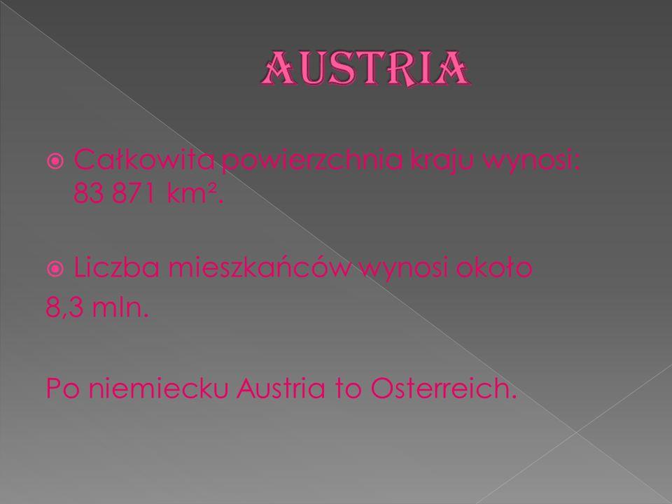 AUSTRIA Całkowita powierzchnia kraju wynosi: 83 871 km².