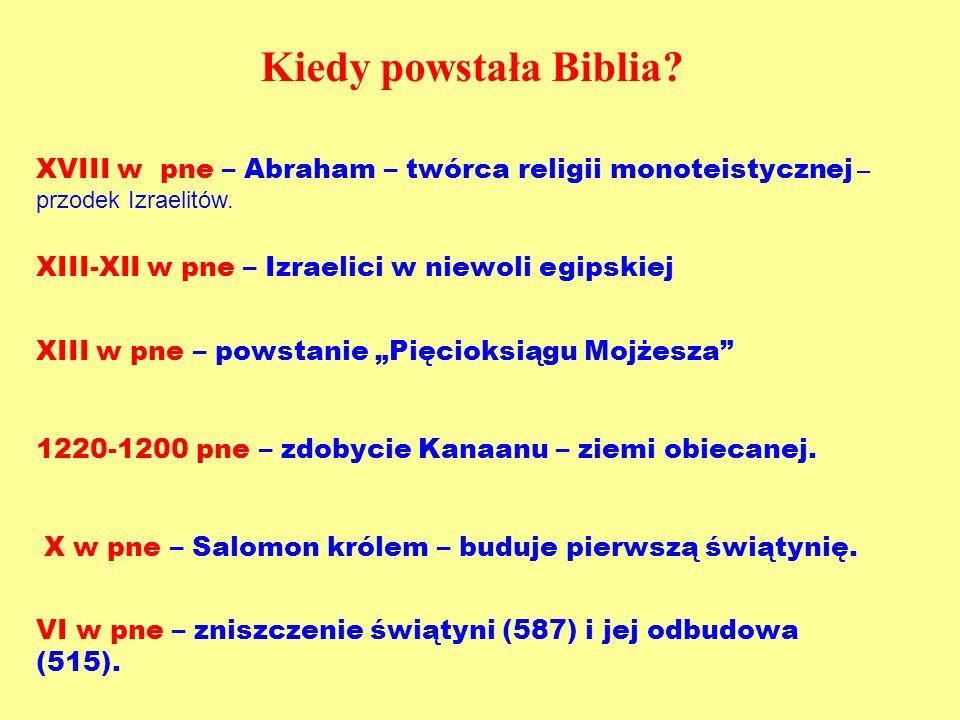 Kiedy powstała Biblia XVIII w pne – Abraham – twórca religii monoteistycznej – przodek Izraelitów.