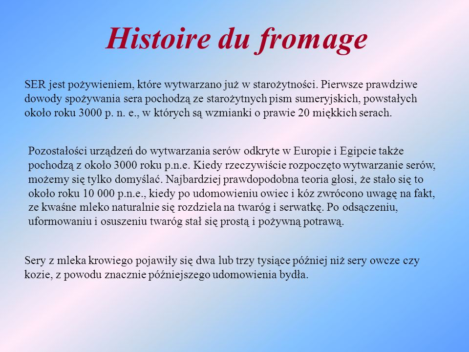 Histoire du fromage