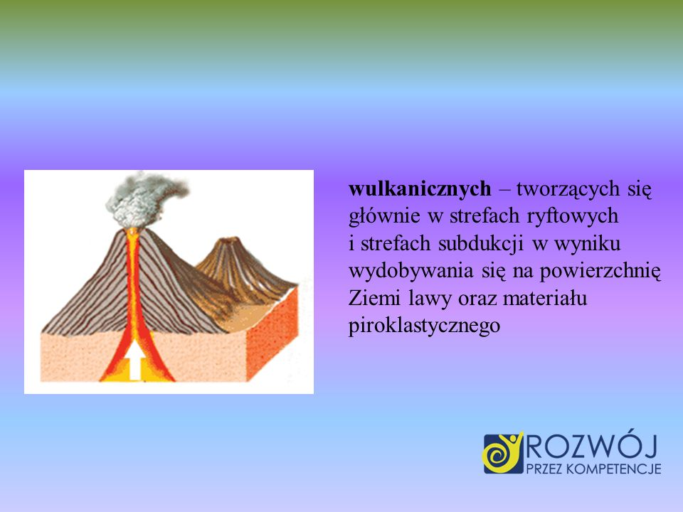 wulkanicznych – tworzących się głównie w strefach ryftowych i strefach subdukcji w wyniku wydobywania się na powierzchnię Ziemi lawy oraz materiału piroklastycznego
