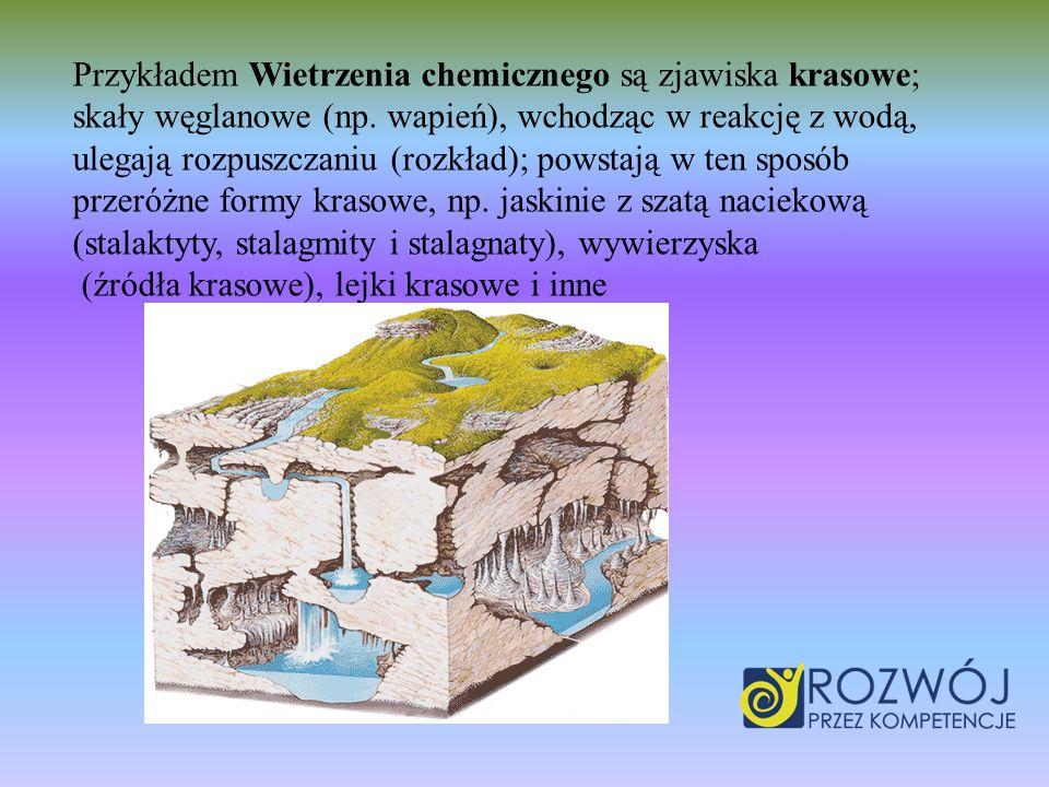 Przykładem Wietrzenia chemicznego są zjawiska krasowe; skały węglanowe (np.