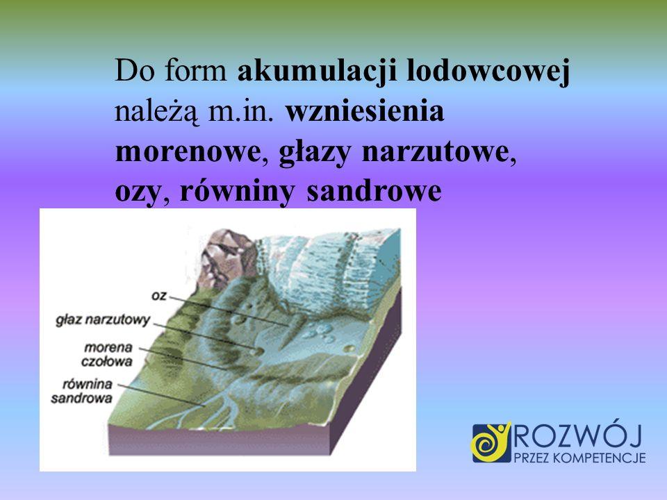 Do form akumulacji lodowcowej należą m. in