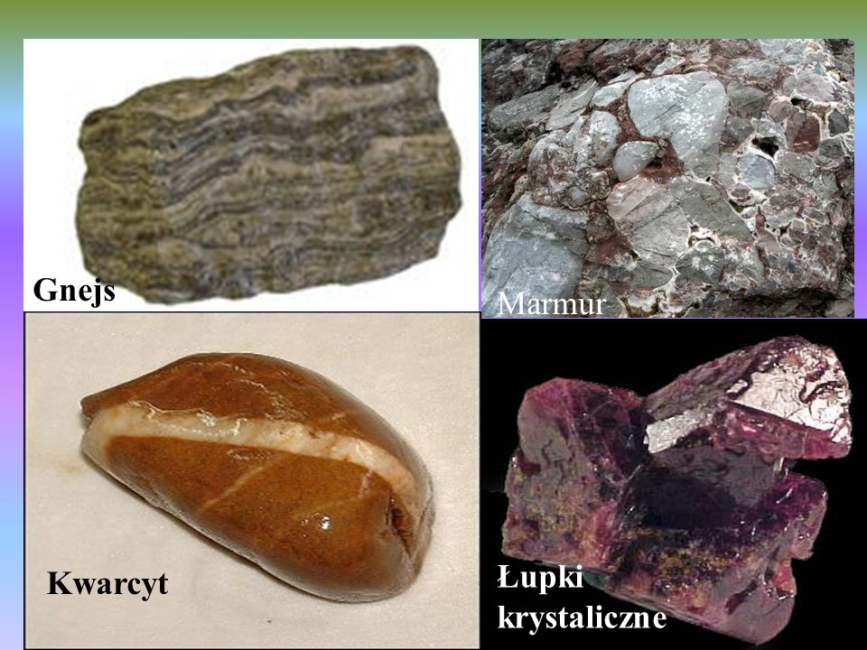 Gnejs Marmur Łupki krystaliczne Kwarcyt